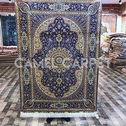 6 X9 Handmade Persian Wool Silk Area Rug Oriental Design: Camel Carpet Handmade Persian Carpet Oriental Qum Silk