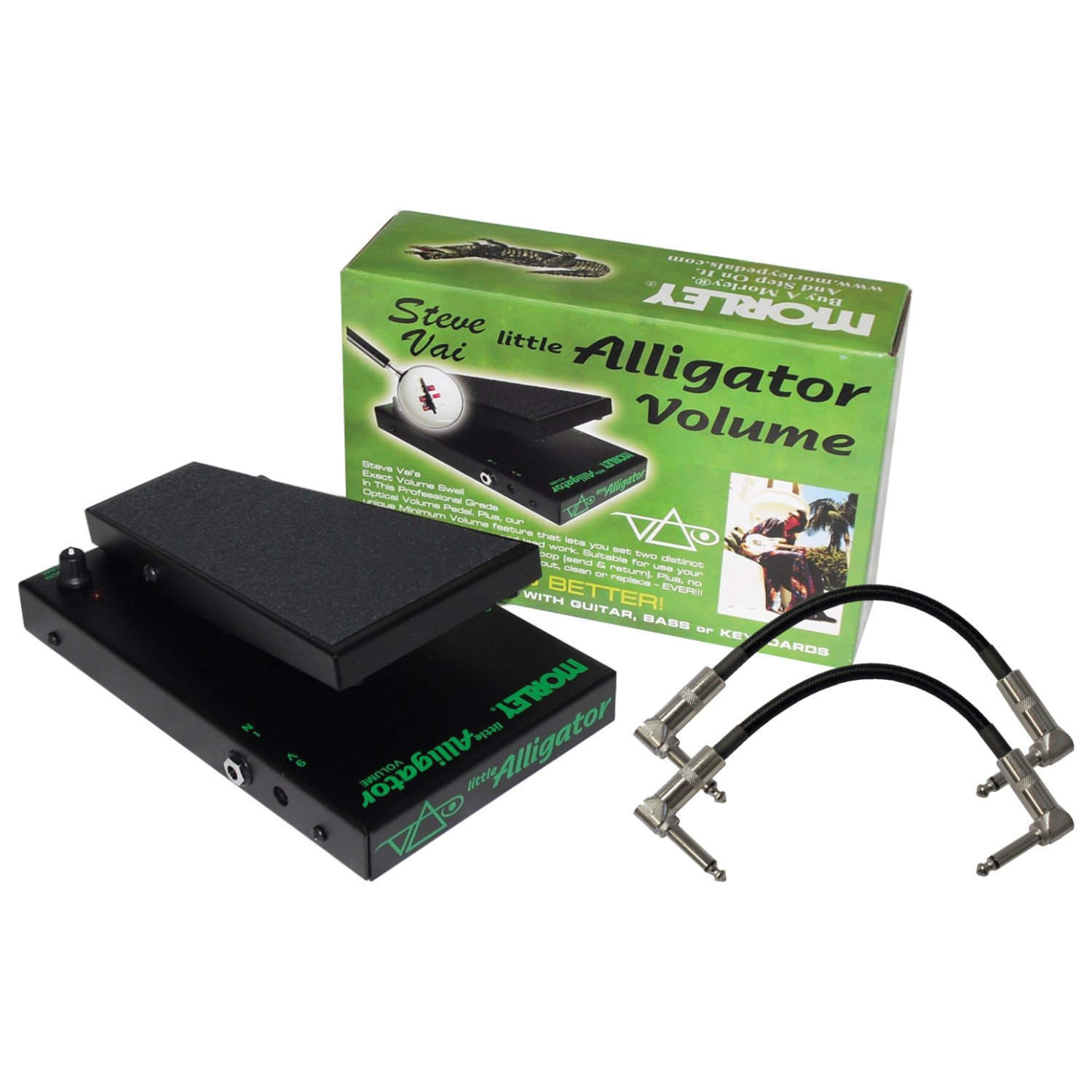 Morley STEVE VAI LITTLE ALLIGATOR VOLUME Pedal Bundle with 2 Patch Cables by MORLEY