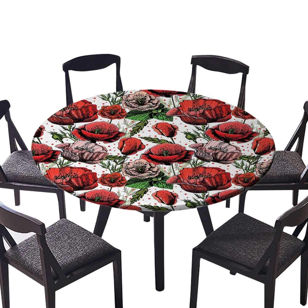 シンプルでモダンな円形テーブルクロス ポピーフラワーアートワーク 詩の模様 ロマンステーマ 花柄 アートシー ヴィンテージスタイルグラフィック 日常使い 結婚式 レストラン (エラスティックエッジ) 63