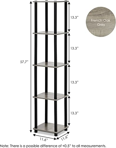 FURINNO Turn-N-Tube 5-Tier Corner Square Rack Display Shelf, Round, French Oak Grey Black