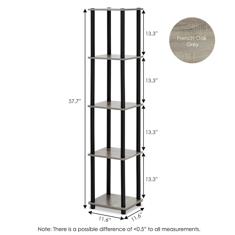FURINNO Turn-N-Tube 5-Tier Corner Square Rack Display Shelf, Round, French Oak Grey Black
