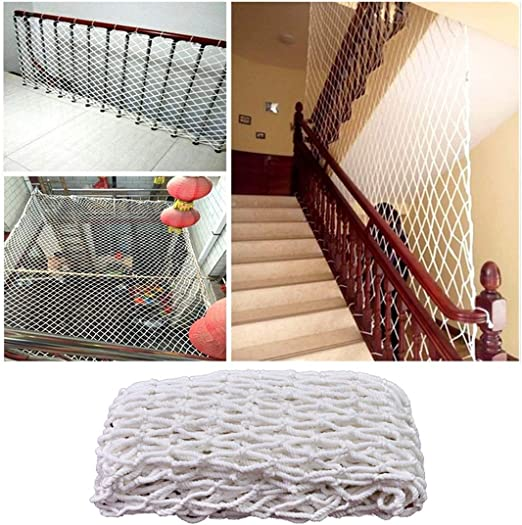 Escalera Niños Malla De Protección Balcón Gatos Redes De Seguridad, Cuerda Escalera Trailer Netting Blanco Red De Nylon Barandilla Proteccion Cerca Patio De Recreo Malla De Decoración (Size : 6x9m): Amazon.es: Jardín