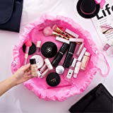 Makeup Bag Drawstring Portable Travel, Small Cosmetic Bag Magic Makeup Pouch Toiletry Bags Makeup Storage Organizer Perfect for Women Girls - Pink