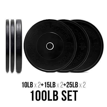 6cb4d343108 Amazon.com   OneFitWonder 100lb Black Bumper Plates Set (10 15 25lb Pairs)  - Weight Plates for Strength Training