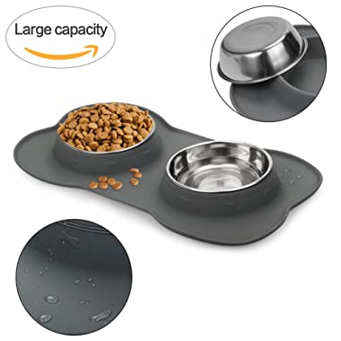 WESEN Dog Bowls 80 oz Stainless Steel Dog Food Bowl & Pet Bowl with No- Spill Non-Skid Silicone Mat Dog Feeder Bowls for Dogs Cats and Pets Grey Set of 2