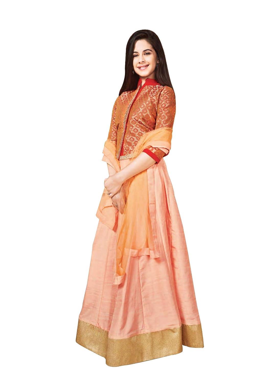 20bf92bef3f Uparna 11-12 Years Girls Light Orange   Golden Embellished Lehenga Choli  with Orange Dupatta  Amazon.in  Clothing   Accessories