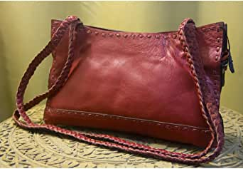 Leather Bag handmade For Women - Three Sections - Red