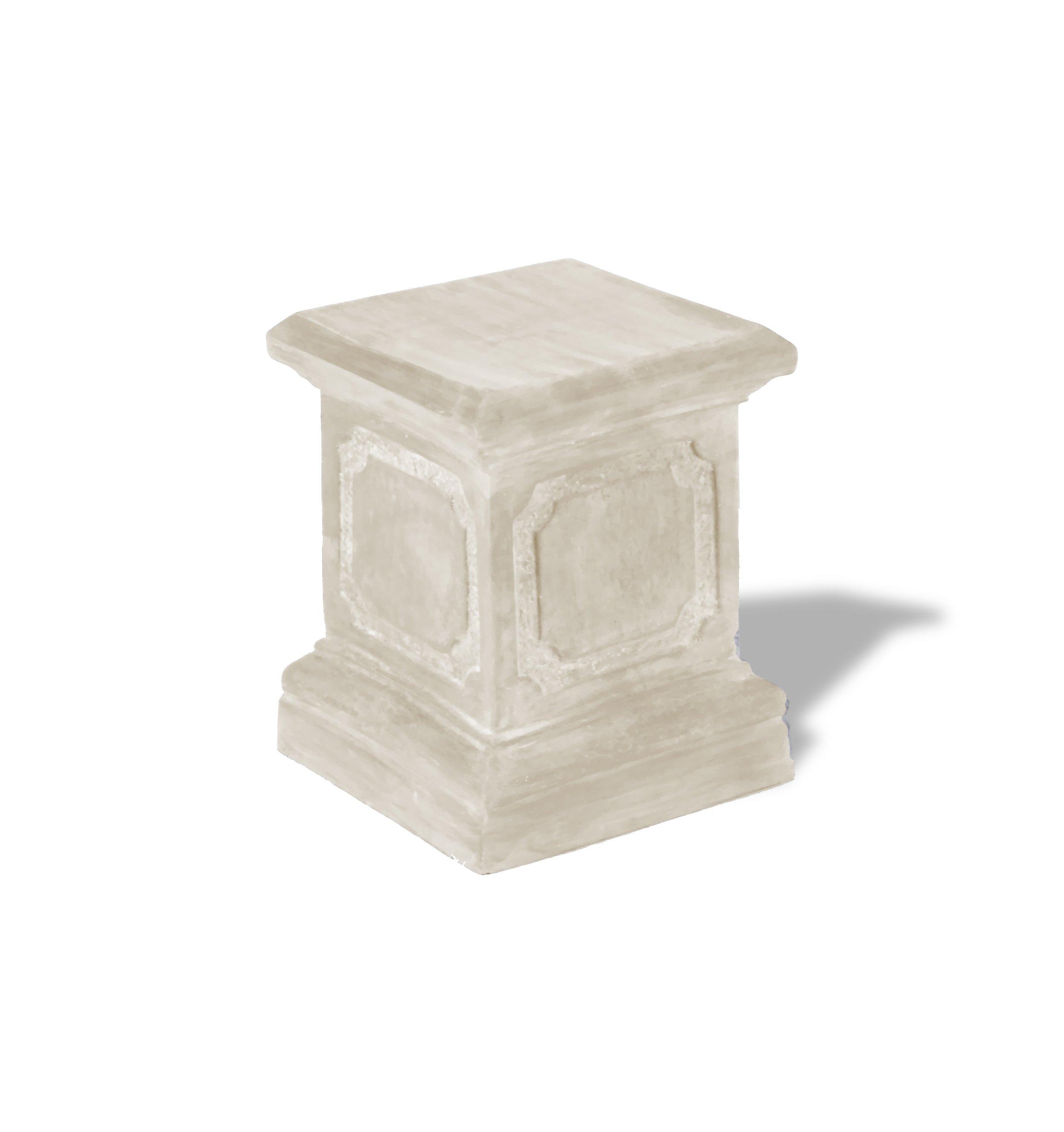 Amedeo Design ResinStone 1900-1L Paneled Pedestal, 15 by 15 by 20-Inch, Limestone