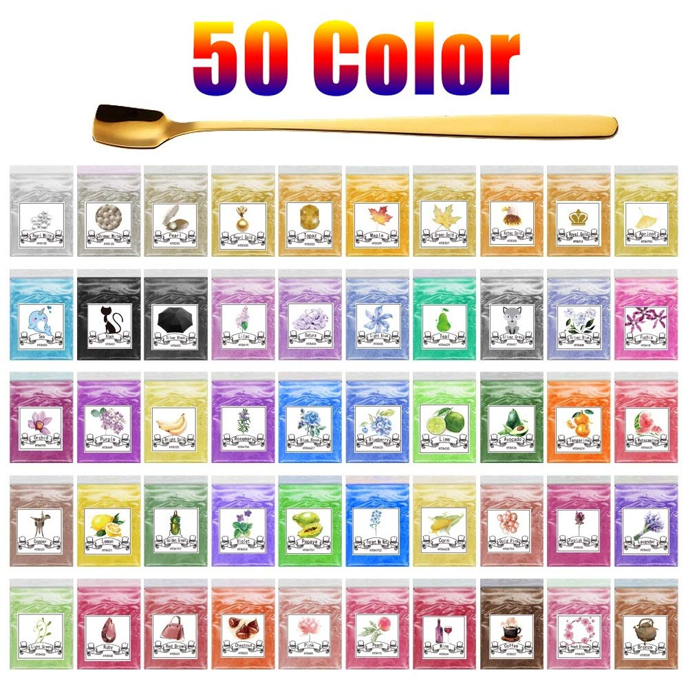 Alritz 50 Colors Mica Powder, 250g Cosmetic Grade Epoxy Resin Powder Pigment Natural Pearl Color Dye for Soap Making, Bath Bomb, Candle, Slime, Resin Craft (0.18oz Each Color)