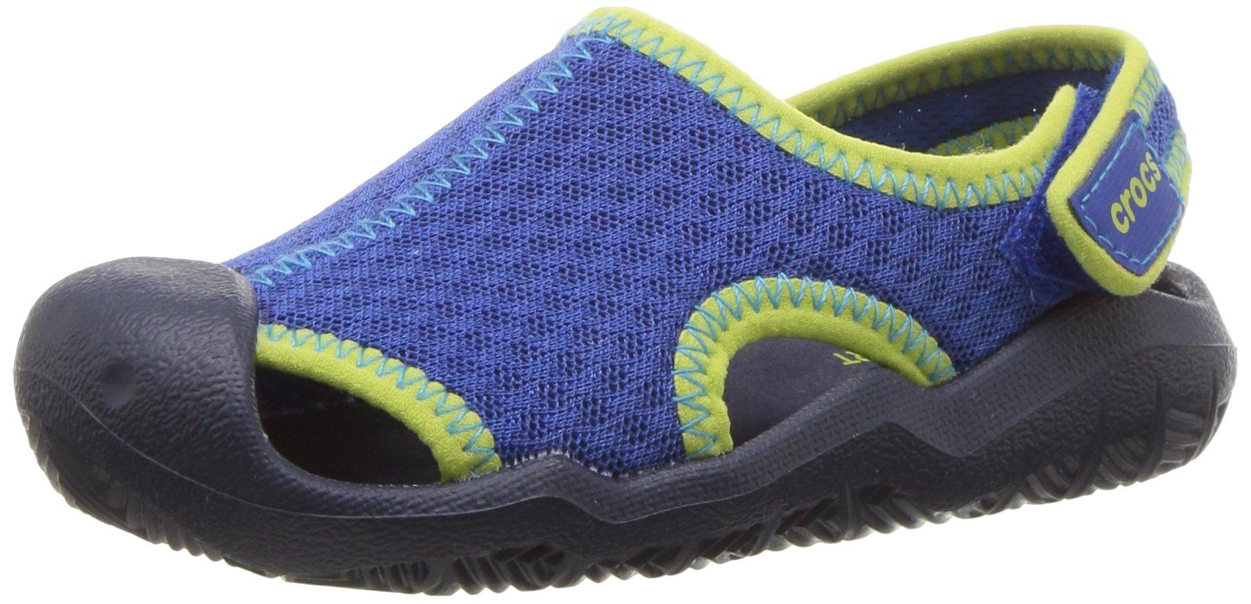 Crocs Kids' Swiftwater Sandal K,blue jean/navy,8 M US Toddler