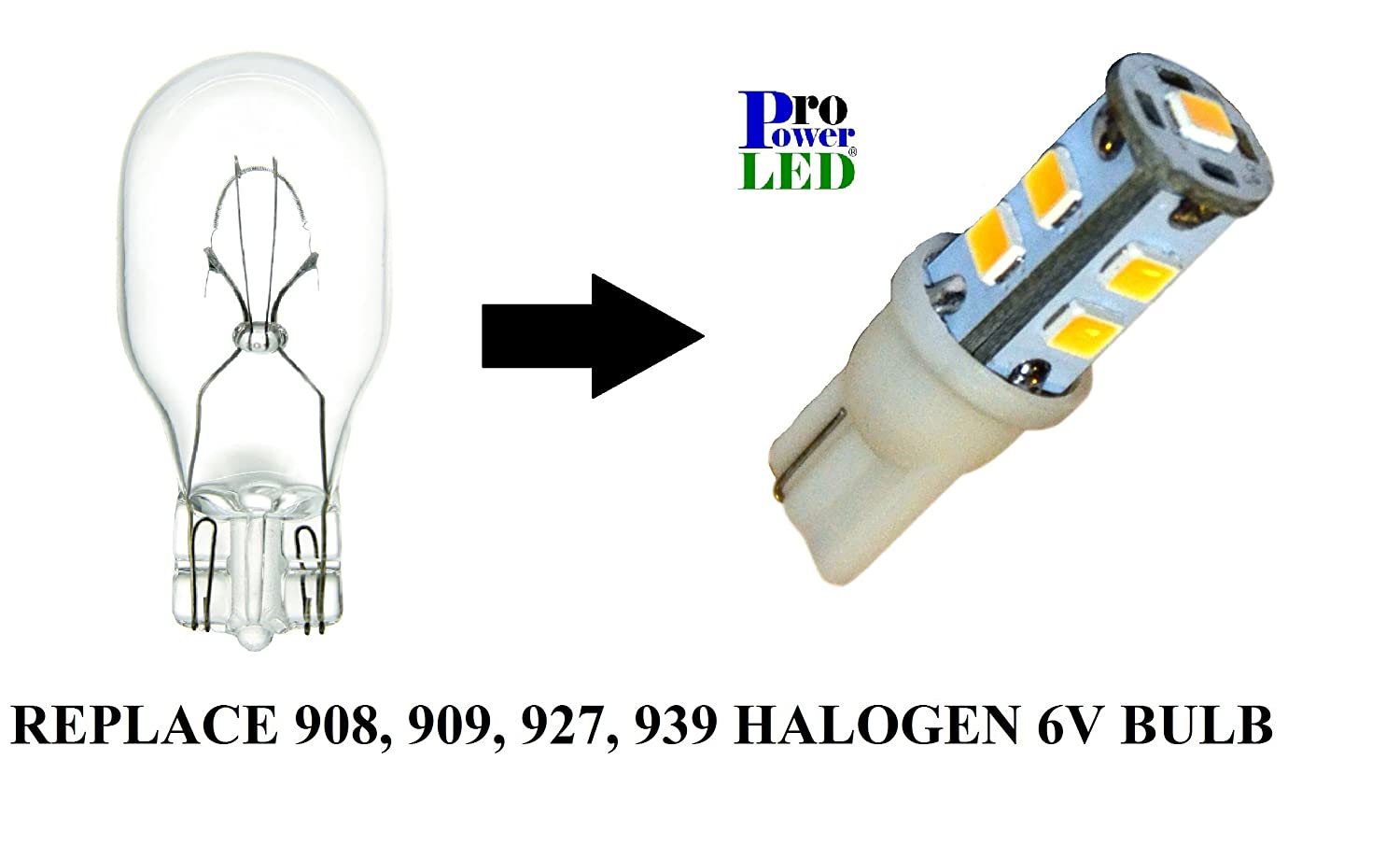 Cool White Emergency Exit Lights LED Wedge Base Replaces 908 927 939 Miniature Bulb 6V DC 909