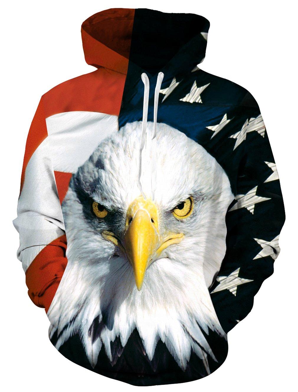 RAISEVERN Felpa con cappuccio Eagle, Unisex Divertente 3D con coulisse Stampata Animal Bird Grahic Pullover Felpe con cappuccio Tasche con cappuccio