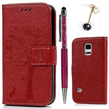 Funda para Samsung Galaxy S5 Mini, S5 Mini Funda Libro Cuero Impresión Suave PU Premium Silicone TPU Carcasa con Tapa Cartera, Correa mano, Soporte ...