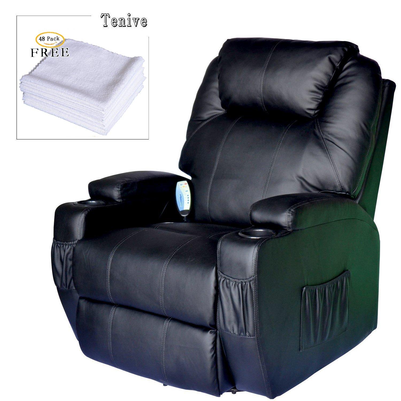 Amazon Tenive PU Leather Swivel Rocker Massage Recliner Chair