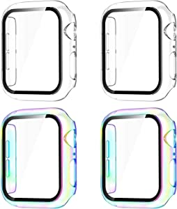 GEAK Compatible for Apple Watch Case 38mm with Screen Protector, Full Cover Hard PC Bumper HD Tempered Protective Case for iWatch SE Series 3/2/1 Women Men 4pack Clear/Clear/Colorful/Colorful
