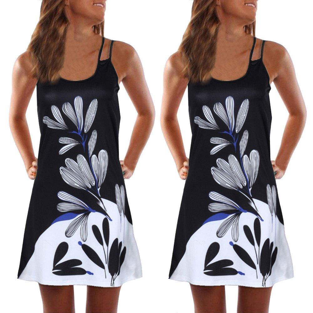 Yesmile Kleider Damen Ärmellos Sommerkleid Minikleid Strandkleid Partykleid Rundhals Rock Mädchen Blumen Drucken Kleider Frauen Mode Kleid Kurz Hemdkleid Blusekleid Kleidung