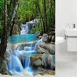 Fashionbeautybuy Rideau de douche résistant à l'eau 1,8x 2m Paysage naturel Cascades 3D Avec 12crochets