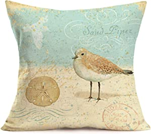 Smilyard Ocean Beach Style Pillow Covers Cotton Linen Vintage Bird Pattern Decorative Pillowcase Mediterranean Theme Cushion Cover Home Decor Pillow Cover 18x18 Inch (Bird 08)