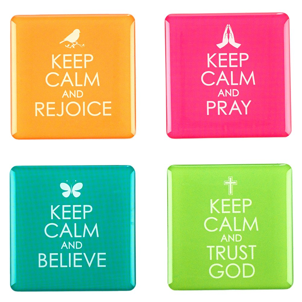 Keep Calm Inspirational Fridge Magnet Set (4) by Christian Art Gifts
