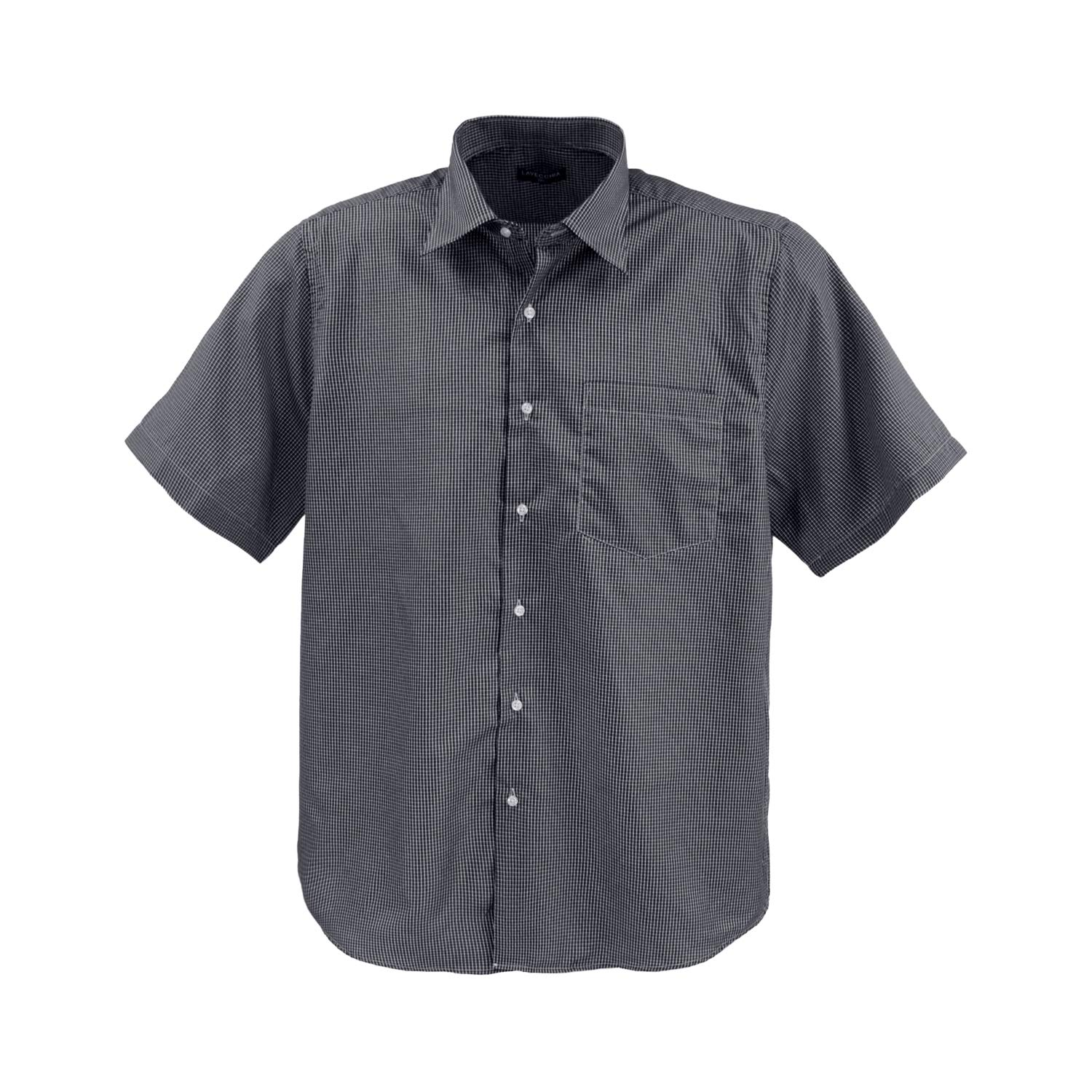 TALLA 7XL. Lavecchia Men's Short Sleeve Shirt Black-Gray-White Big Sizes