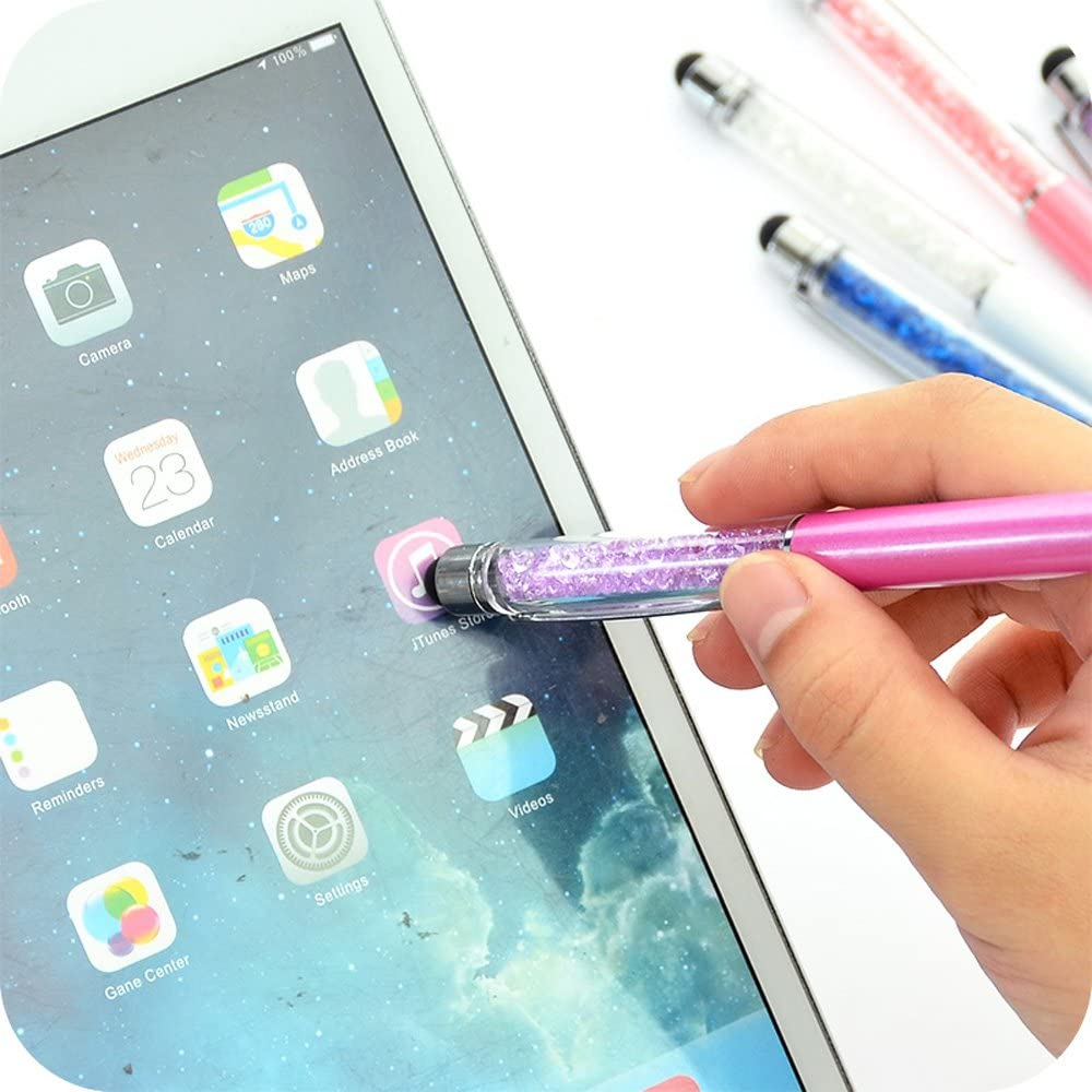 Ximimark Ballpoint Pens 2-in-1 Crystal Diamond Pen Black Ink Capacitive Stylus for iPhone Kindle Touchscreen Devices,12 Pcs iPad