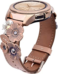 V-MORO Leather Strap Compatible with Galaxy Watch 42mm Bands/Active 40mm Band Women 20mm Fashion Flower Wristband with Rose Gold Buckle for Samsung Galaxy Watch 42mm R810/Galaxy Watch Active 40mm R500