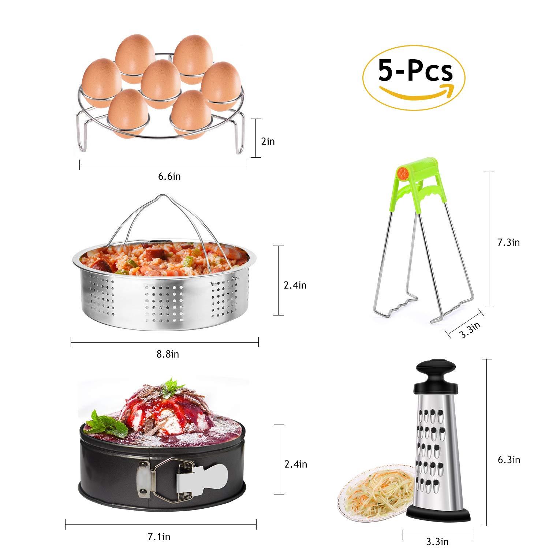 Markkeer Instant Pot Ensemble d'accessoires avec panier vapeur à œufs, cuiseur vapeur Rack, plat antiadhésif Moule à charnière, clip, boîte à Râpe