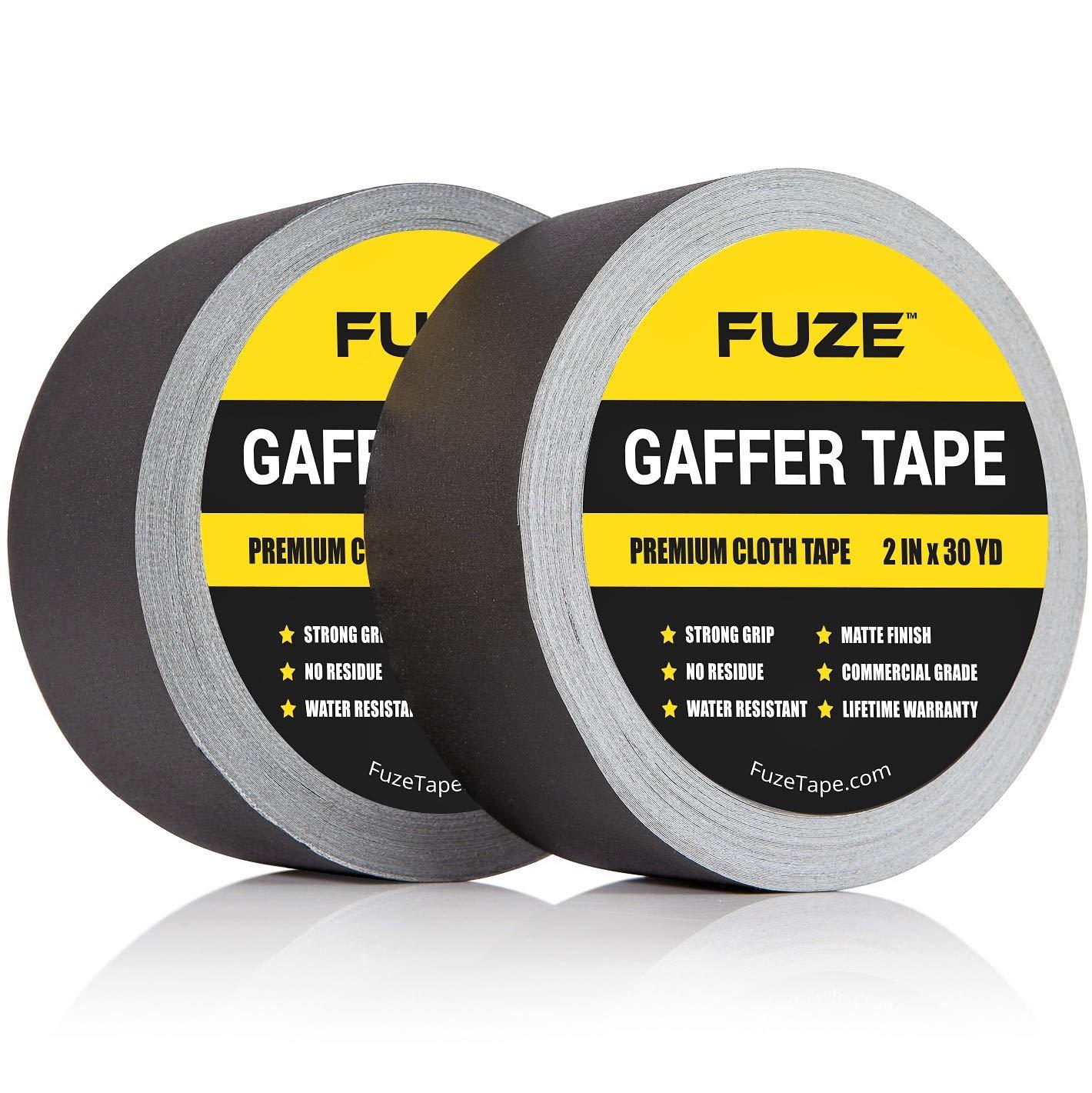 2-Pack Professional Grade Premium Gaffer Inch X 30 Yards Gaffers Tape Black