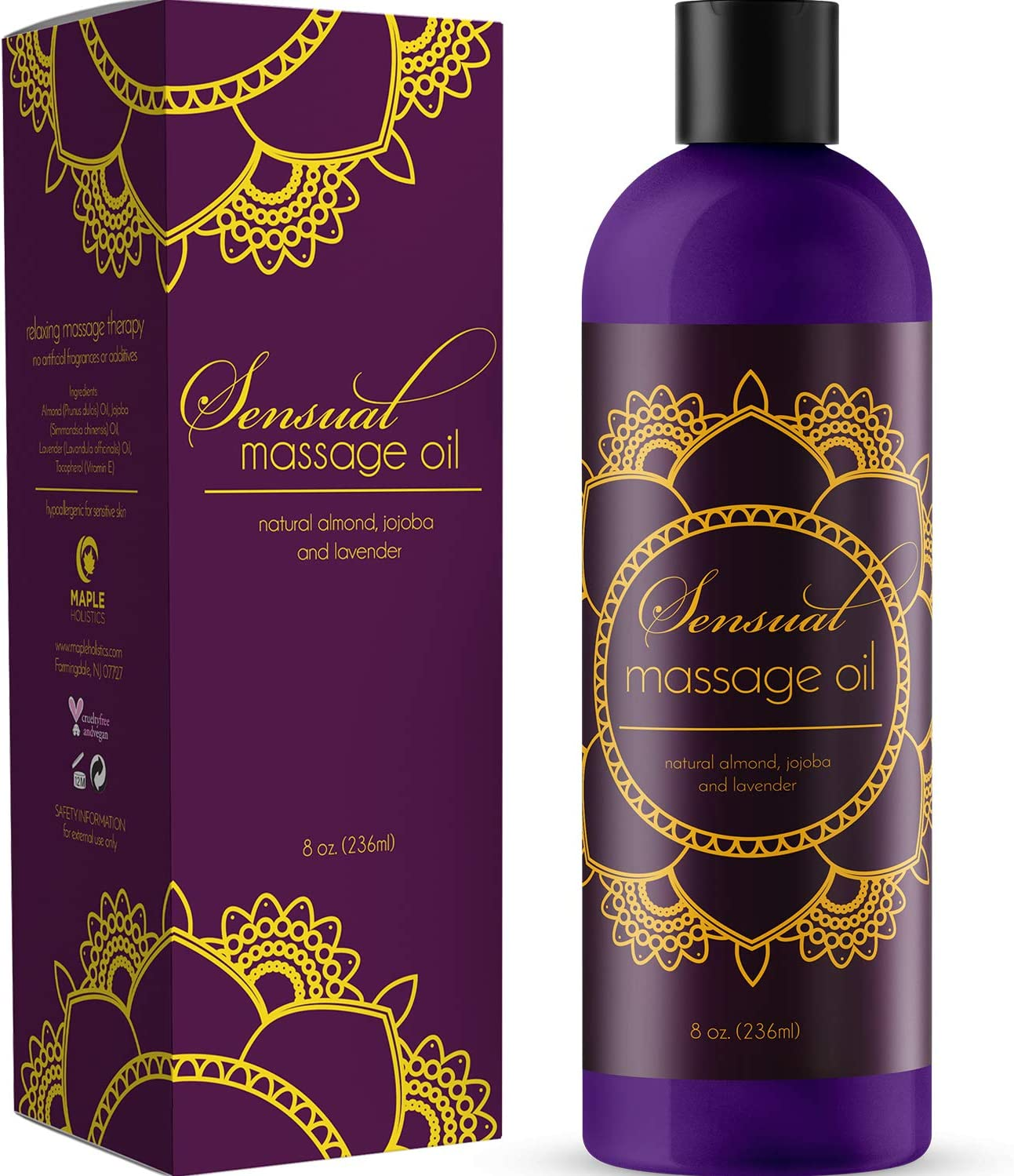 Sensual Massage Oil with Relaxing Lavender Almond Oil and Jojoba for Men and Women – 100% Natural Hypoallergenic Skin Therapy with No Artificial or Added Ingredients - Made by Maple Holistics: Health & Personal Care