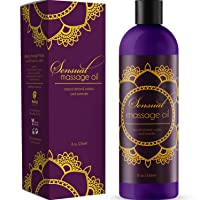 Sensual Massage Oil with Relaxing Lavender Almond Oil and Jojoba for Men and Women...