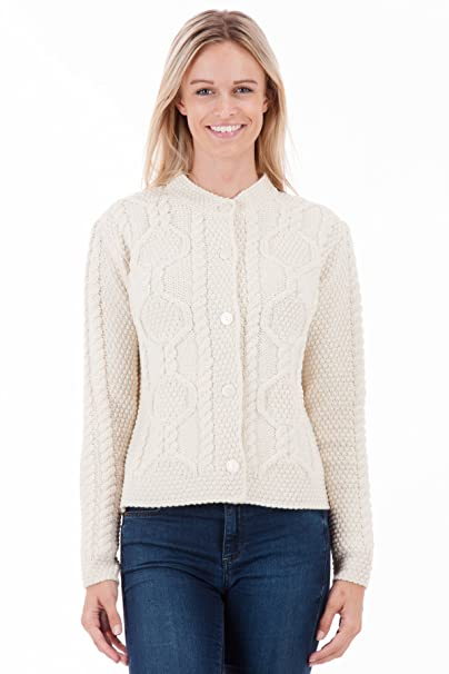 Amazon.com: Pura lana de Merino para mujer Aran chaqueta de ...