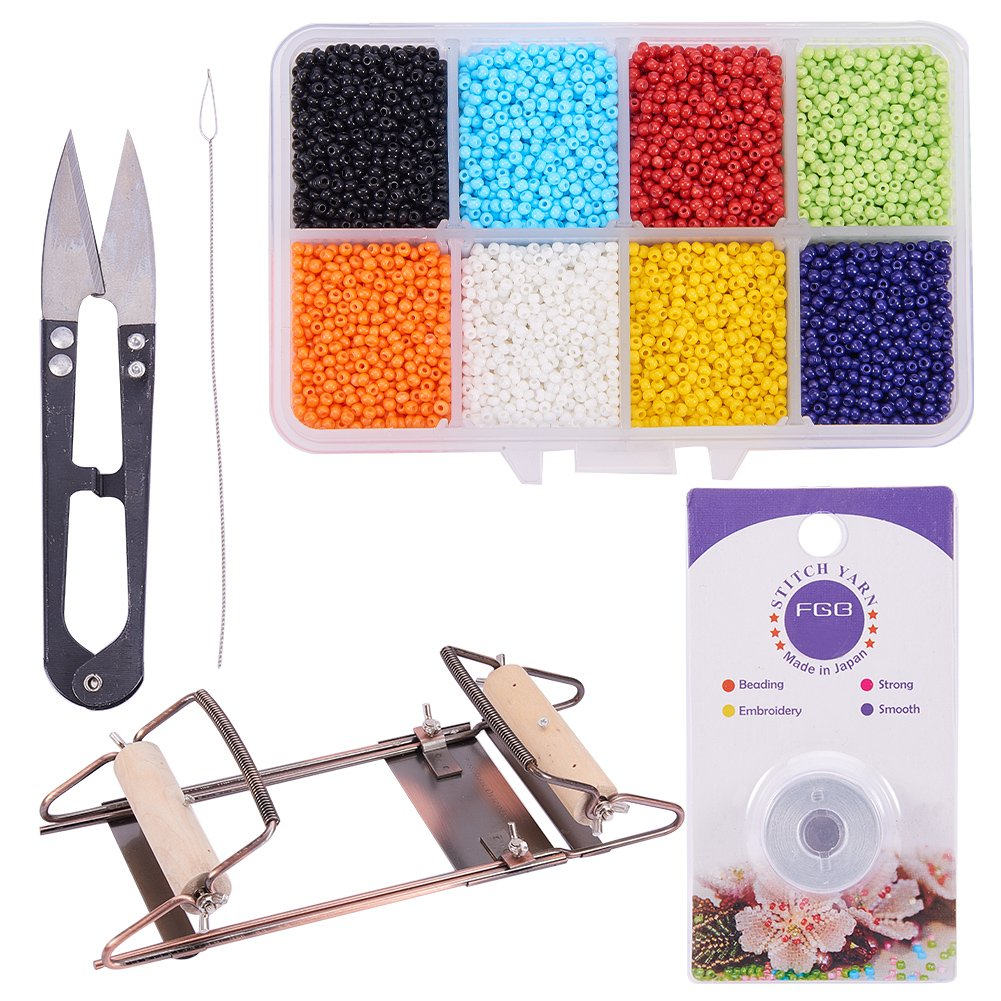 PH PandaHall Bead Loom Kit with About 1600pcs Colorful Beads, Steel Scissors, Knitting Needle, Threads for Necklace Bracelet Jewelry DIY Making wh-TOOL-PH0034-28