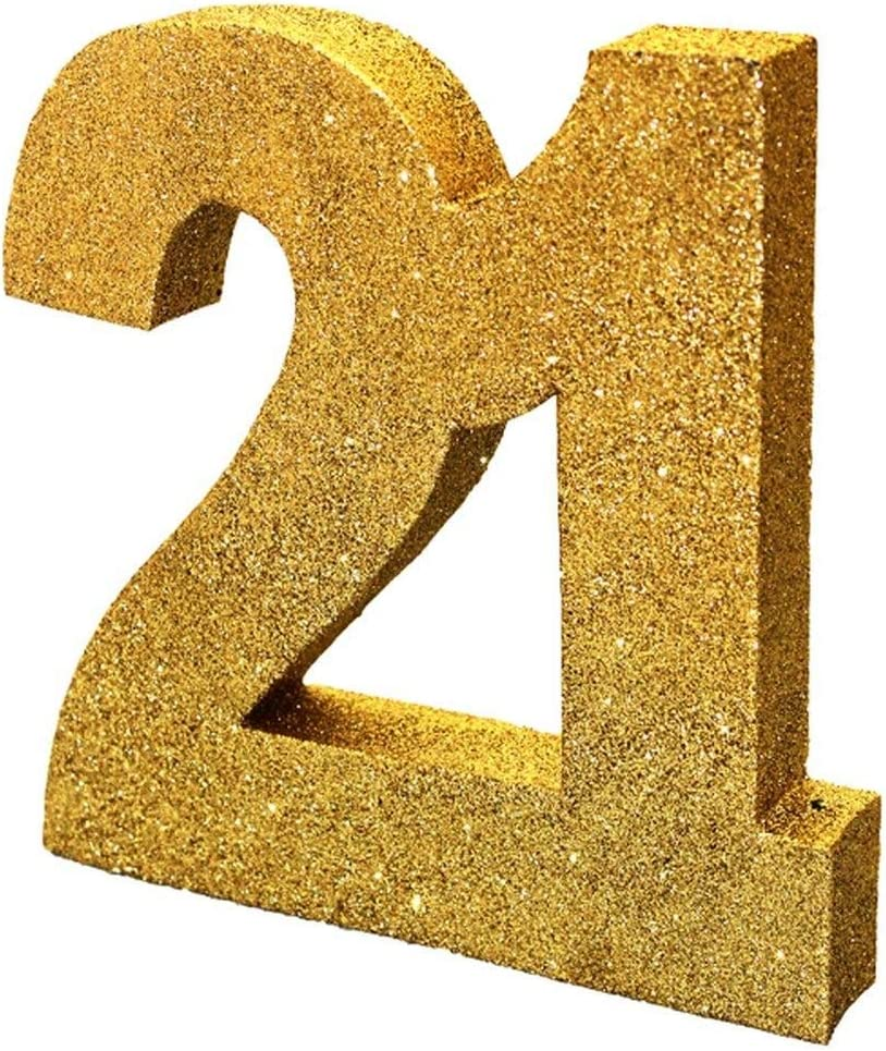 2 X Gold Glitter Number Table Decoration 21