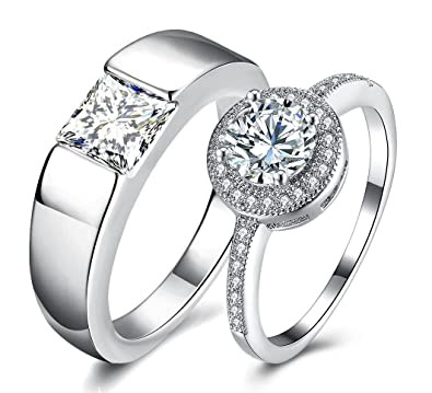 Via Mazzini White Gold Plated Crystal Proposal Couple Rings For