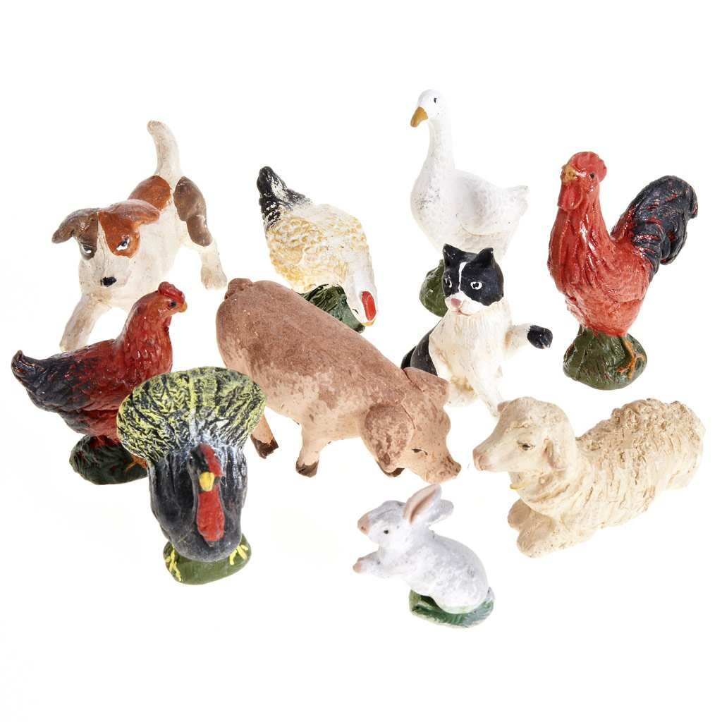 Nativity scene accessory courtyard animals 10 pcs 10cm