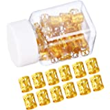 Mudder 50 Pieces Aluminum Dread Locks Adjustable Metal Cuffs Dreadlocks Beads Braiding Hair Decorations (Gold)