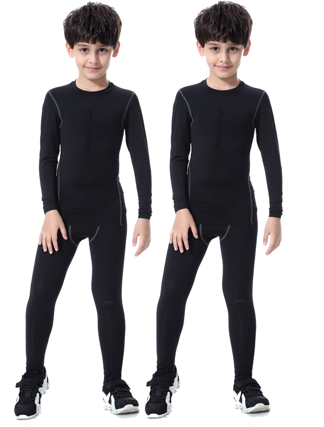 LNJLVI 2 Packs Athletic Compression Long Sleeve Shirts and Pants Set(Black,12)