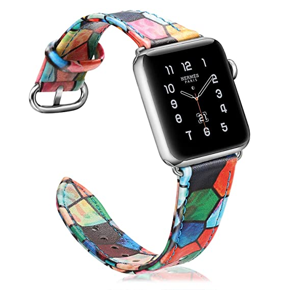 the best attitude 796d5 e356d Fintie Band for Apple Watch 44mm 42mm, Premium PU Leather Patterned  Replacement Wrist Strap for Apple Watch Series 4 (44mm) / Series 3 2 1  (42mm) All ...