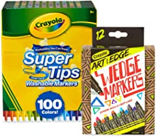 Crayola 100 CT Supertips/Art with Edge Marker Bundle Washable Markers (Amazon Exclusive)