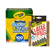 Crayola 100Count Super Tips Washable Markers with 12Count Wedge Markers, Adult Coloring, Easter Basket Stuffers, Gift