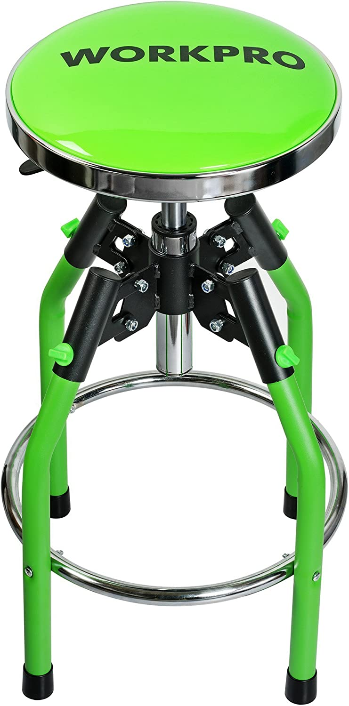 WORKPRO Heavy Duty Adjustable Hydraulic Shop Stool, Green