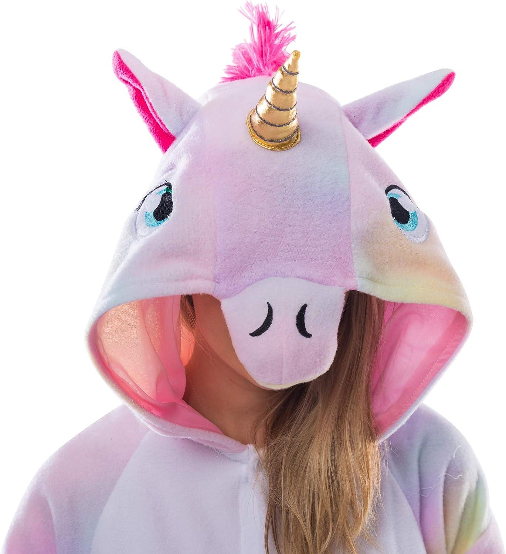 Pigiama a tutina in pile per adulti costume da unicorno unisex Spooktacular Creations