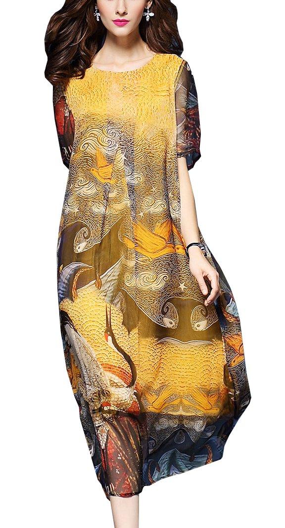Wsirmet Women's Chiffon Chinese Style Printed Loose Fit Long Dress