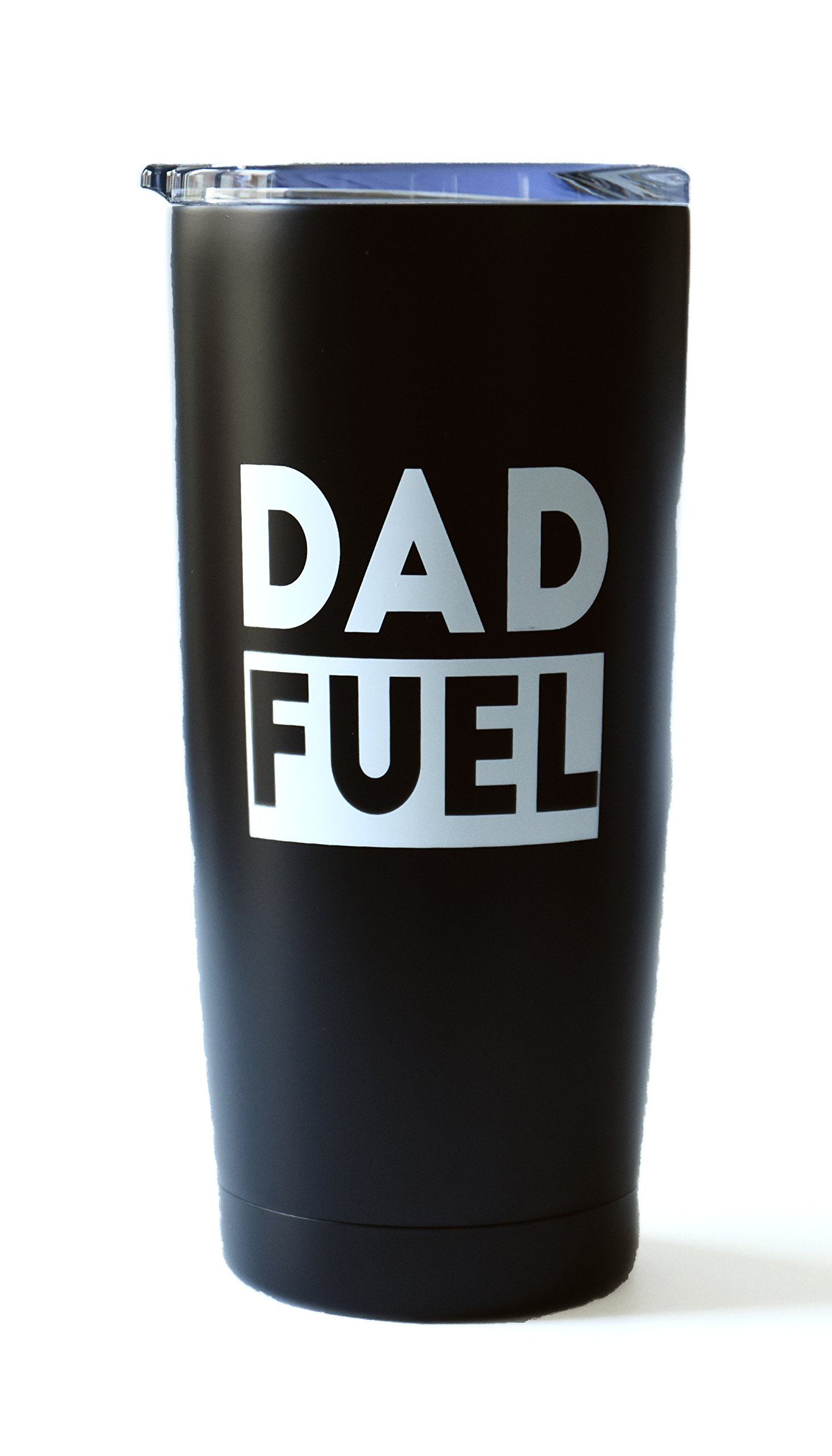 Dad Fuel - 20 oz Stainless Steel Insulated Double Wall Tumbler with Lid (Black and White) - Father's Day, Dad Birthday