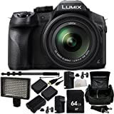 Panasonic Lumix DMC-FZ300 Digital Camera 14PC Accessory Kit. Includes 64GB Memory Card + 2 Replacement BLC-12 Batteries + 2 AC/DC Rapid Home & Travel Chargers + LED Digital Video Light (160 LED) + Replacement FM500 Battery + Heavy Duty Monopod + MORE