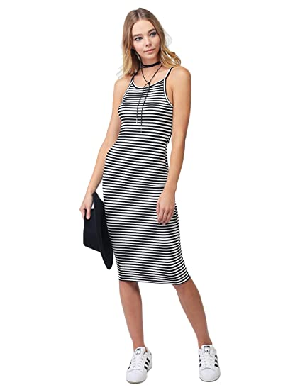 558407544c26 Made by Emma Stripe Crew Neck Spaghetti Strap Body-Con Midi Dress Black  White M at Amazon Women's Clothing store:
