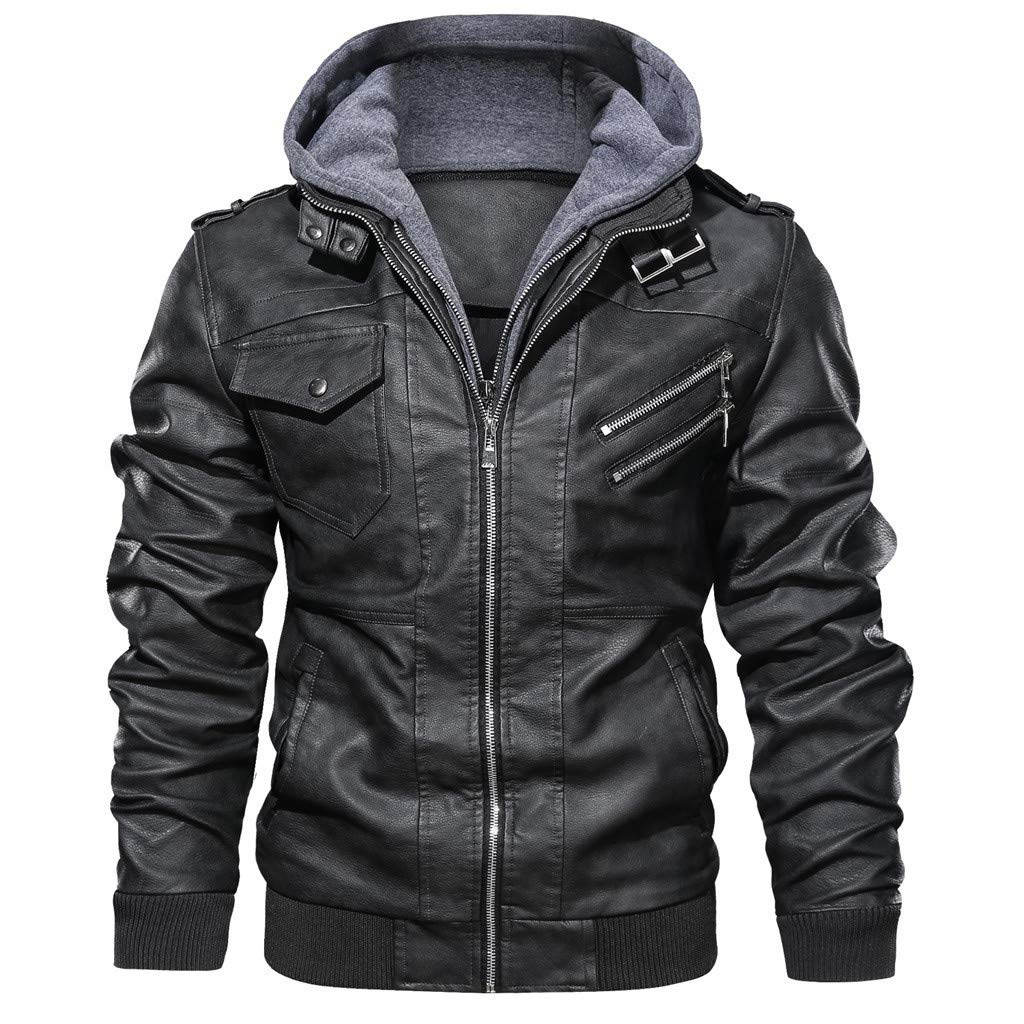 F_Gotal Mens Hipster Hip Hop Button Down Long Sleeve Hooded Denim Jacket by F_Gotal Mens blazer