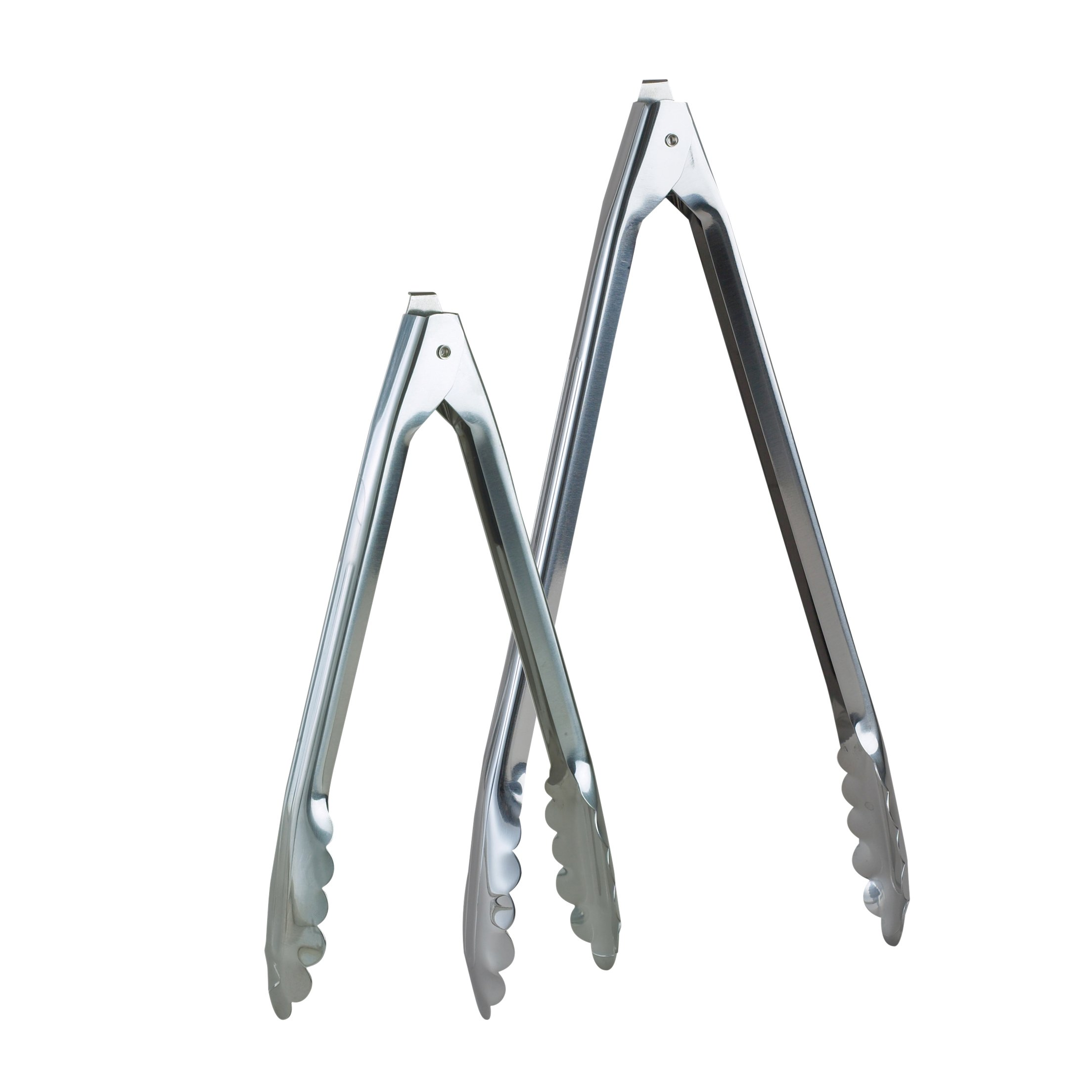 HIC Harold Import Co. BUN00101 Spring Locking Food Tongs for Kitchen and Barbecue, Scalloped Gripping Edge, Stainless Steel, Set of 2, 10-Inch and 12-Inch