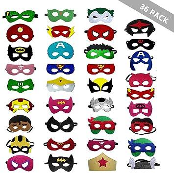 Siiruc Máscaras de Superhéroe, 36 Piezas Fiesta de Superhéroes para Niños Juguete de Regalo, Máscaras de Cosplay de Superhéroe, Suministros de Fiesta ...