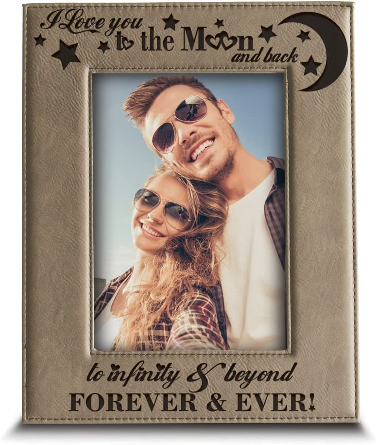 "Bella Busta - I love you to the moon and back, to infinity and beyond, forever & ever - Engraved Leather Picture Frame-Christmas Gift (4""x 6"" Vertical)"